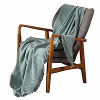 百伽 北欧风全棉盖毯流苏纯色沙发毯子65672 尺寸127*152.5cm 浅绿色(亚马逊自营商品, 由供应商配送)