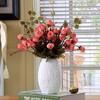 Hoatai Ceramic 华达泰陶瓷  白色花瓶摆件 迷你中椭圆配粉色玫瑰花苞