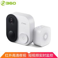 360 D809 可视门铃1c 智能摄像机摄像头家用无线监控 (白色)