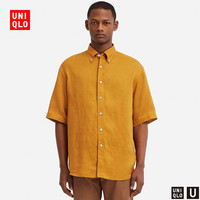 男装 法国麻宽松衬衫(短袖) 416554 优衣库