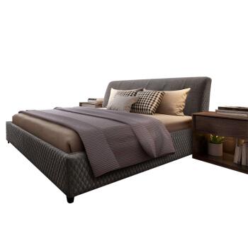 SLEEMON 喜临门 时尚棉麻双人床 (150cm*200cm、松木、现代简约发货地)