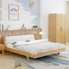 ZHONGWEI 中伟 SMC*019 双人简约卧室床 (原木色、1.8m*2m、橡木实木、现代简约)
