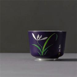 内镶银陶瓷茶杯主人杯 蓝釉春兰C-AG-9-7