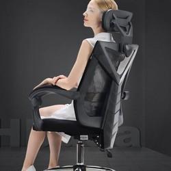 黑白调 电脑椅子办公椅可躺电竞椅人体工学座椅 黑色