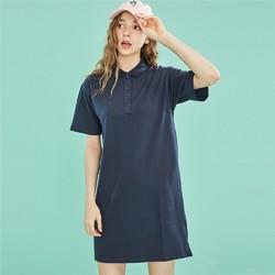 佐丹奴 13469207 裙子女 2019新款女装弹力棉POLO裙 纯色宽松连衣裙