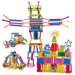 美阳阳 儿童拼装玩具 500根 送收纳盒+车轮12件套车轮