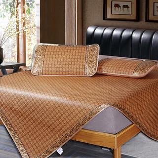 YALU 雅鹿 ·自由自在 凉席家纺 原藤席三件套夏天夏季双人可折叠空调席子1.5米床 罗马格