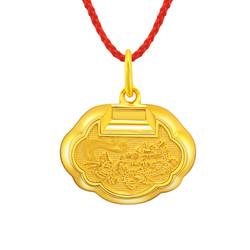 China Gold 中国黄金 龙凤 足金长命锁 吊坠