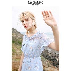 La Babite 拉贝缇 60006719 娃娃碎花领连衣裙女夏2018新款高腰复古中长款不规则鱼尾百褶裙