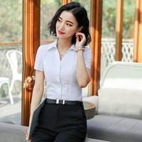 初申 2019春夏季新款短袖衬衫女职业白衬衣韩版修身OL女士上衣 SWCD191414 白色XL *3件