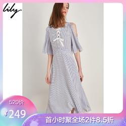 Lily夏新款女装清新蓝白细条纹绑带露肩连衣裙118279C7956
