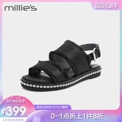 millie's/妙丽夏季专柜同款牛皮沙丁布方跟一字带女凉鞋LU603BL8