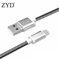 ZYD MFi认证苹果数据线 黑白纹编织 1米