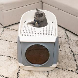 TOMCAT 猫砂盆封闭式猫砂盆猫厕所新款自由舱特大号猫砂盆猫咪用品 绅士雅灰