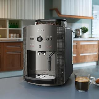 克鲁伯(KRUPS)咖啡机 欧洲原装进口意式家用商用全自动现磨豆自带奶泡器 EA810B80(黑色)