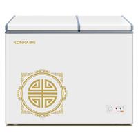 康佳(KONKA)178升 双温双箱冰柜 大冷冻小冷藏 卧式冰箱 家用商用二合一冷柜 BCD-178DTS