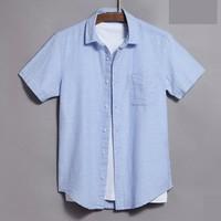 Vancl 凡客诚品 1093821 男士麻棉短袖衬衫
