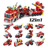 潘洛斯   消防车系列积木玩具 12合1