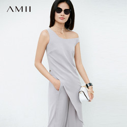 Amii极简个性原宿风时尚雪纺衫女2019夏装新款不对称个性无袖上衣