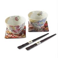 日本原产ceramic 蓝美浓烧陶瓷碗情侣碗2个装花美开 彩色