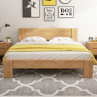 摩高空间 TB088 实木时尚双人床 (150*200*115cm、橡胶木、北欧)