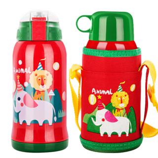 天喜(TIANXI)儿童保温杯 带吸管316不锈钢双盖保温壶户外便携水杯带杯套550ml 红色狮子 *3件