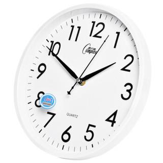 康巴丝(COMPAS)挂钟 创意时尚时钟 静音石英客厅卧室简约钟c2855 白色