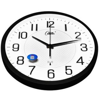 康巴丝(COMPAS)挂钟创意客厅时尚静音时钟壁钟二代智能电波钟 C6891 磨砂黑