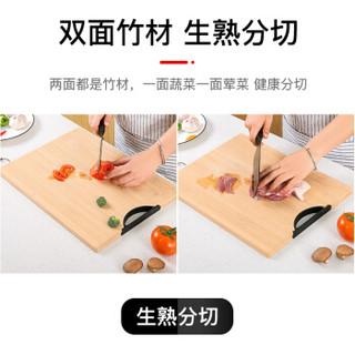 双枪(Suncha)天然竹工艺砧板切菜板实竹案板加大双面可用家用占板C3605(挂钩款式随机发放)