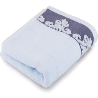 三利 纯棉缎档图腾纹样 方巾毛巾浴巾三件套 礼盒装 浅蓝色