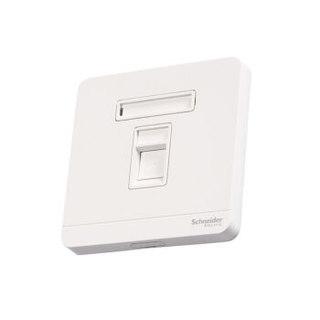 施耐德电气(Schneider Electric)单联超五类电脑插座 网络插座面板 绎尚系列 镜瓷白色E8331RJS5_WE