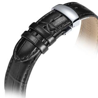 积优JEAYOU 手表配件 真皮手表带 牛皮手表带 蝴蝶扣通用表带 男20GZPT04