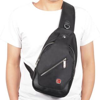 SWISSGEAR 胸包 多功能时尚潮流胸包单肩包运动背包 防水旅行包斜挎包iPad包 SA-9866黑色