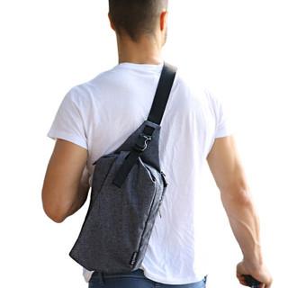 TINYAT 天逸 时尚小腰包男新款休闲包斜挎包大容量胸包旅行包户外运动背包Ipad袋T610黑色