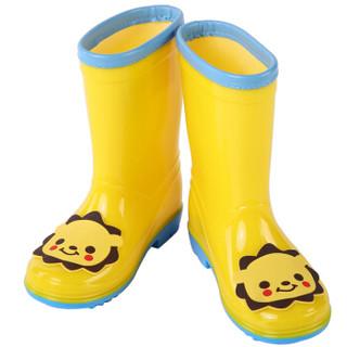 hugmii儿童雨鞋男童女童宝宝时尚卡通贴片小孩防滑水鞋 ZTPDWT223 狮子内长230mm