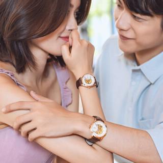 雷诺(RARONE)手表 唯爱系列 镂空机械情侣表一对 皮带透底防水 白面玫钉