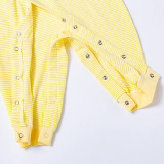 贝贝怡 Bornbay婴儿连体衣婴儿衣服春季新生儿衣服纯棉哈衣爬服 BB133 淡黄 80