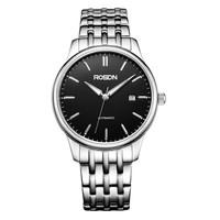 劳士顿(ROSDN)手表 机械商务钟表休闲男表黑盘钢带 G2065S-TAB