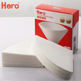 Hero咖啡滤纸 滴漏式手冲咖啡过滤纸100片V型滤杯用滤纸1-4人份白色原色随机发货