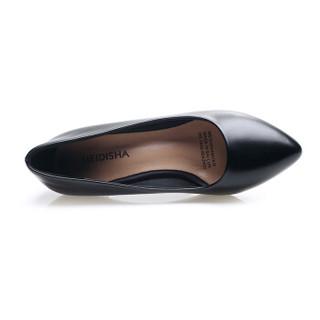 玫蒂莎 单鞋中跟鞋防水台女鞋子舒适女鞋 AE113 黑色 35码