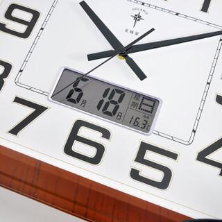 北极星(POLARIS)挂钟客厅静音钟表超大方形万年历石英钟经典简约日历时钟挂表19英寸6812木纹