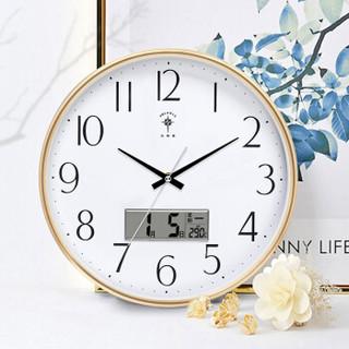 北极星(POLARIS)挂钟圆形静音客厅钟表万年历现代石英钟时尚日历时钟创意挂表13英寸6810金色日历款