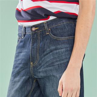 佐丹奴(Giordano) 男装牛仔裤 猫须洗水窄脚裤子中腰休闲男牛仔长裤01111512  01深蓝色 27码(160/66A)