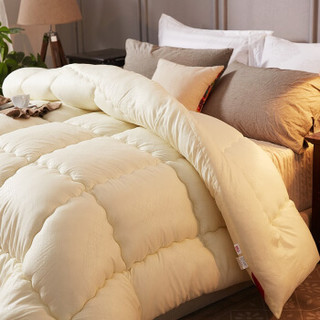 南极人 被芯家纺 春秋保暖被子 纤维空调被 棉被单人盖被 米黄 150*200cm 4斤