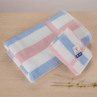 金号毛巾家纺 无捻提缎毛巾 浴巾盒装 吸水柔软 毛巾*1 浴巾*1 红色 礼盒装 含手提袋