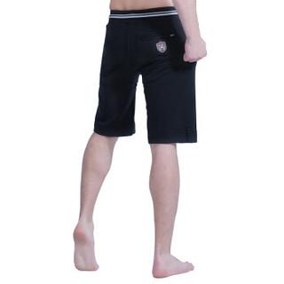 企鹅卫队男士短裤休闲沙滩裤精棉纯色排汗运动休闲沙滩裤男黑色L(170/90) 34112038