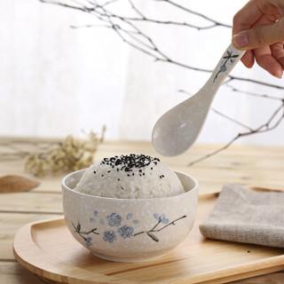 樱之歌  日式釉下彩纯手绘雪花釉陶瓷饭碗碗勺套装碗勺8件套微波炉适用(包含4碗4勺)