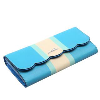 MEIDU 每度 女士钱包 花边时尚精致票夹 十字纹牛皮手包拿包零钱包 MWS150635 天蓝色
