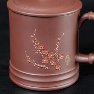金镶玉 紫砂杯功夫茶具办公杯 宜兴原矿紫砂手工泡茶杯水杯 梅花暗香杯±330ml