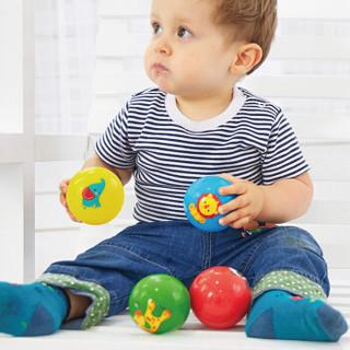 费雪Fisher-Price 婴幼儿玩具球 宝宝初级训练球手抓球(内含两个球 红色捏捏叫 绿色拍拍球)F0903